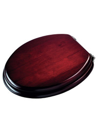 Croydex Mahogany Brass Solid Wood Toilet Seat