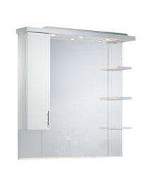 Ella 1000mm White Mirror Canopy With Cupboard And Shelves