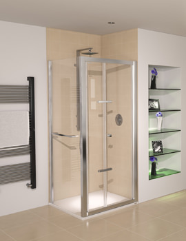 Aqualux Aqua 8 Glide Bi-fold Shower Door 900mm Polished Silver