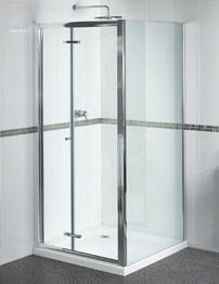 Aqualux Shine Bi-Fold Shower Door 800mm Polished Silver