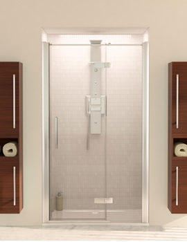 Aqua 8 Hinge Pivot Door With Fixed Panel 1200mm And 900mm Side Panel