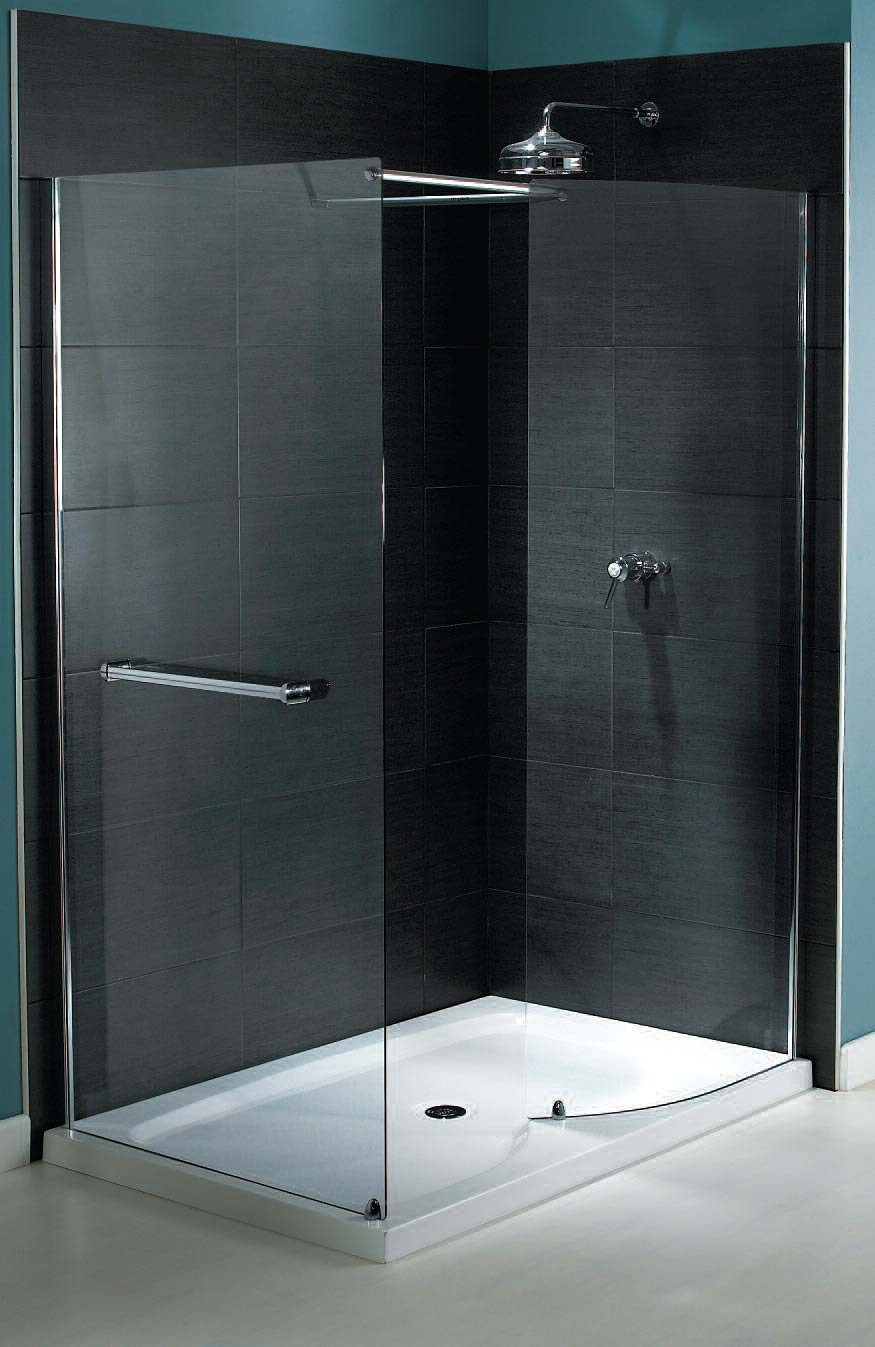 Aqualux shine walk in shower enclosure 1400mm x 800mm silver for Shower cubicles for small bathrooms uk