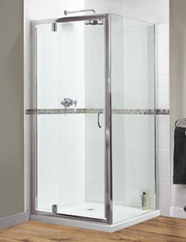 Aqualux Shine Xtra Pivot Door 760mm x 1850mm Polished Silver