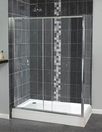 Aqualux Shine Sliding Shower Door 1700mm Polished Silver