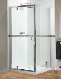 Aqualux Shine Pivot Shower Door 760mm Polished Silver