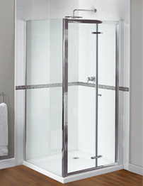 Aqualux Shine Xtra Bi-Fold Door 760mm x 1850mm Polished Silver