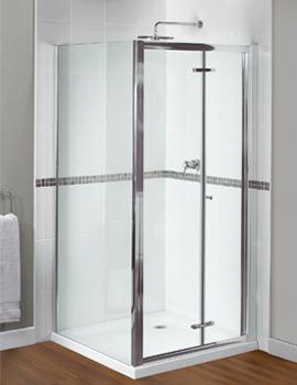 Aqualux Shine Xtra Bi-Fold Door 800mm x 1850mm Polished Silver
