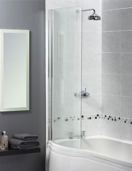 Aqualux Shine Curved Bath Screen 710 x 1500mm Polished Silver
