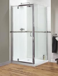 Aqualux Shine Pivot Shower Door 800mm Polished Silver