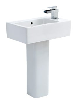 Phoenix Qube 475mm Wide Basin With Full Pedestal