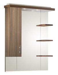 Ella Walnut 800mm Mirror Canopy With Cupboard And Shelves