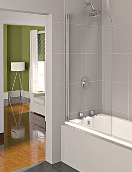Aqualux Aqua 4 Half Frame Bath Screen 800mm Polished Silver