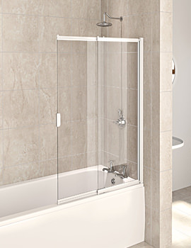 Aqualux Aqua 4 White Frame 2-Panel Slider Bath Screen 820 x 1275mm