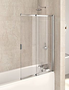 Aqualux Aqua 4 Polished Silver 2-Panel Slider Bath Screen 820mm