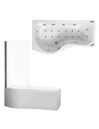 Phoenix Capri 1700mm Whirpool Airpool Shower Bath With Bath Screen