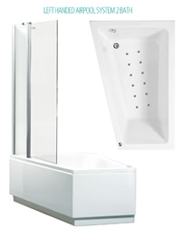 Phoenix Taranto Left Hand Airpool shower Bath And Bath Screen