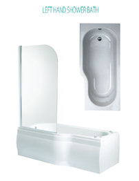 Phoenix Space Left Hand Shower Bath With Bath Screen And Panel