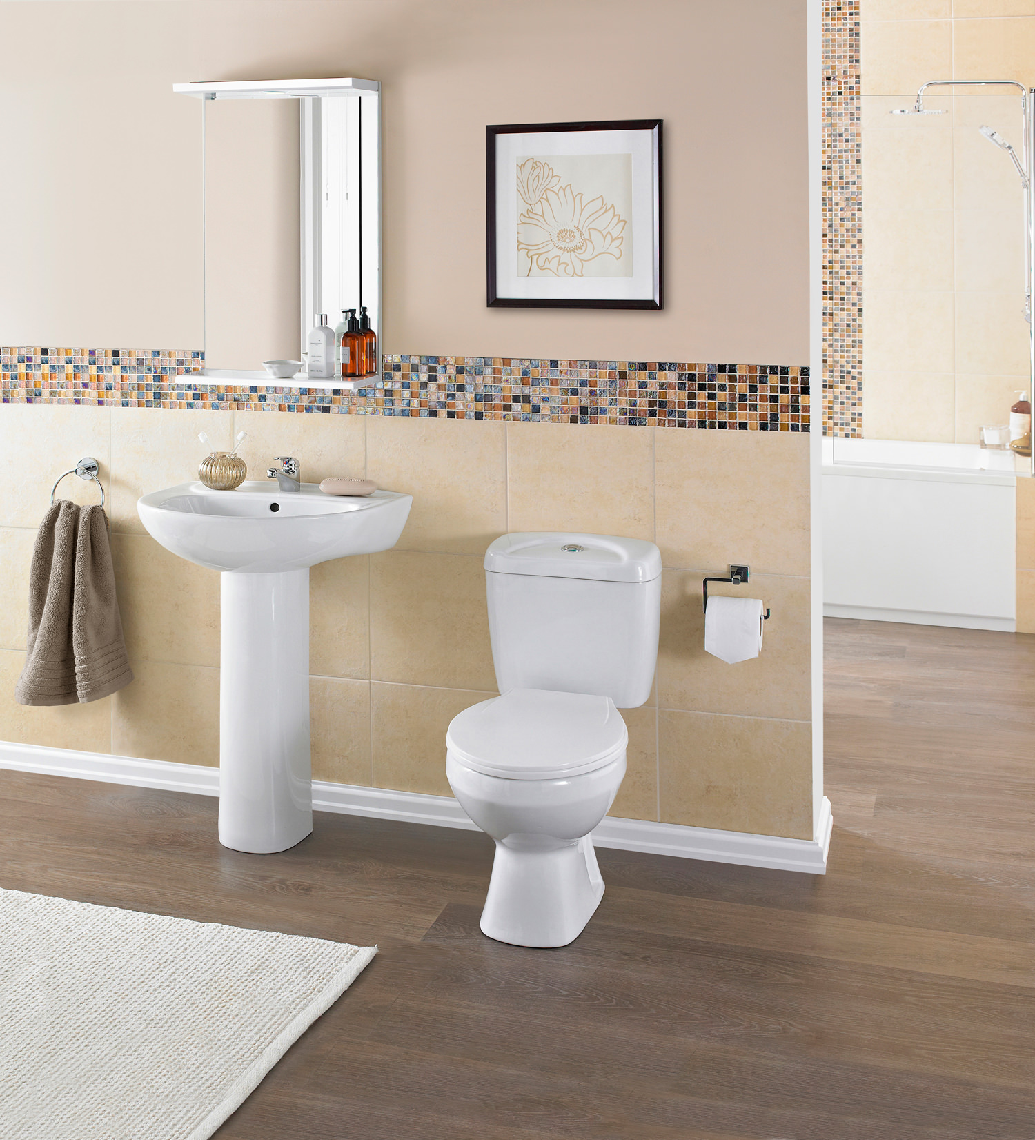 Lauren Melbourne 4 Piece White Cloakroom Suite