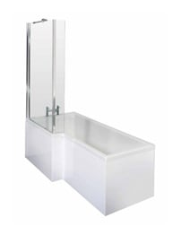 Lauren 1700mm Square Shower Bath LH With Screen And Side Panel
