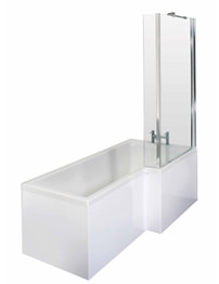 Lauren 1700mm Square Shower Bath RH With Screen And Side Panel