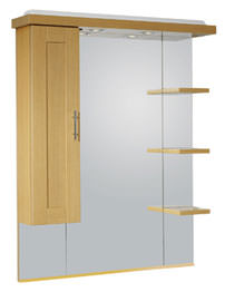 New England Oak 800mm Mirror With Cupboard Canopy And Shelves