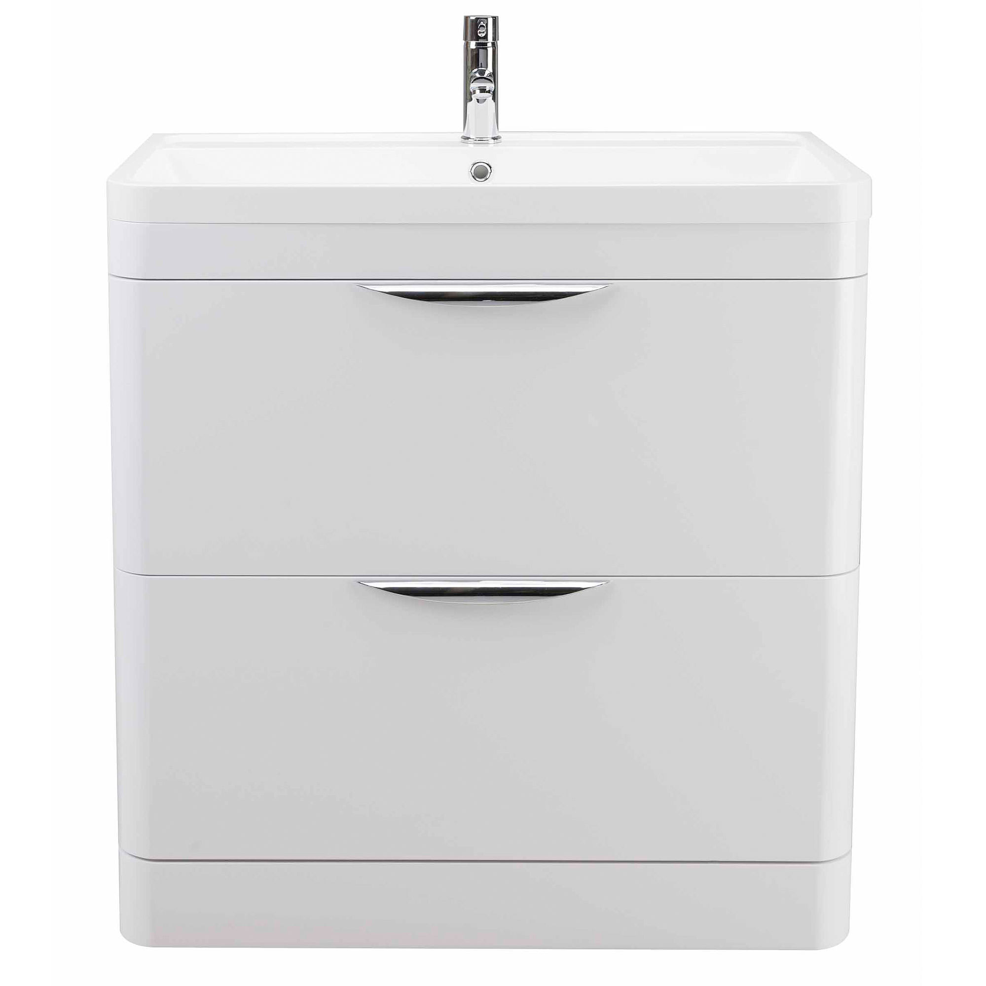 Bathroom Floor Cabinets with Drawers in white