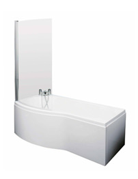Lauren 1500mm Curved Shower Bath LH With Screen And Side Panel