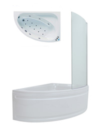 Phoenix Duo Right Hand Whirlpool And Airpool Bath With Screen