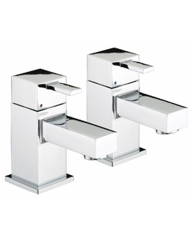 Bristan Quadrato Chrome Plated Basin Taps Pair