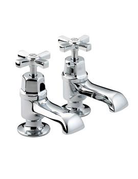 Bristan Art Deco Chrome Plated Bath Taps Pair