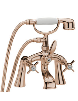 Tre Mercati Florence Pillar Bath Shower Mixer Tap With Shower Kit - Gold