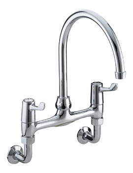 Bristan Lever Wall Mounted Bridge Sink Mixer Tap With 76mm Levers
