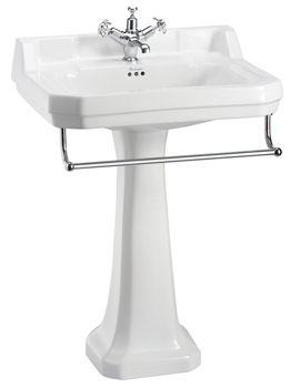 Burlington Edwardian 610mm Basin With Regal Pedestal And Towel Rail