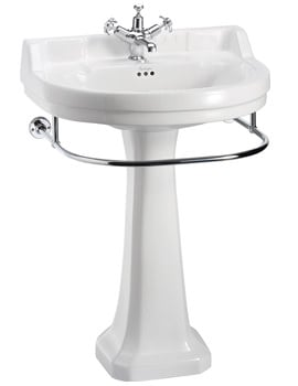 Edwardian Regal Round Large Basin And Towel Rail With Pedestal