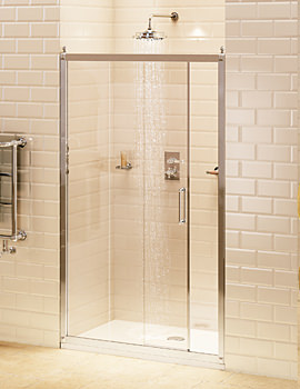 Burlington Soft Close Recessed Sliding Shower Door 120cm