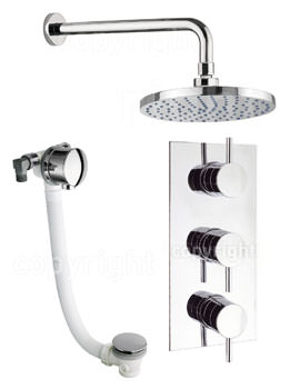 Crosswater Kai Thermostatic Valve With Wall Shower Head And Bath Filler