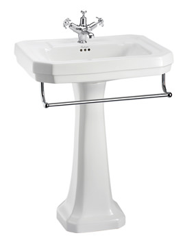 Burlington Victorian 610mm Basin With Full Pedestal And Towel Rail