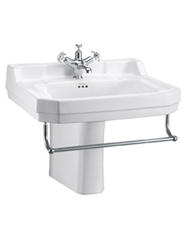 Burlington Edwardian 610mm Basin With Semi Pedestal And Towel Rail