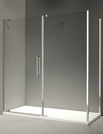 Merlyn 10 Series Pivot Door And Inline Panel 1700mm - Clear Glass