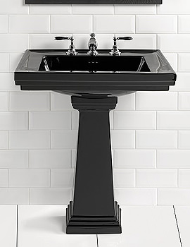 Imperial Astoria Deco Black Large Basin 640mm With Pedestal