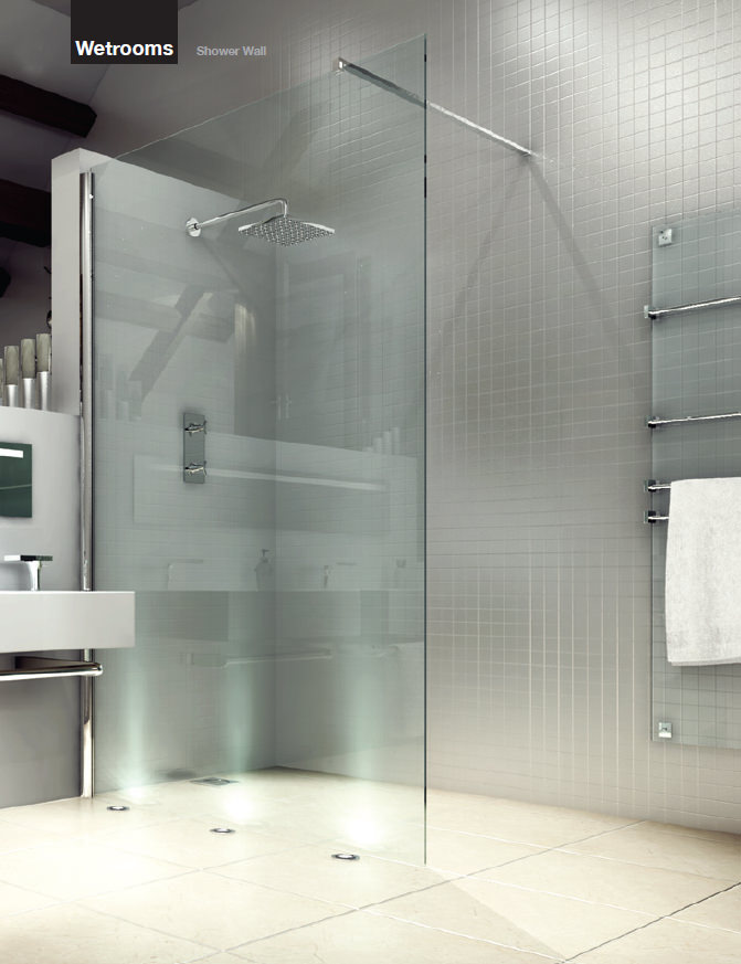 merlyn 8 series wetrooms clear glass shower wall 900mm