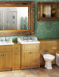 Burlington Two Vanity Units & Vanity Joining Unit With WC Unit Oak