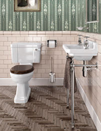Burlington Cloakroom Slimline Toilet and Edwardian Basin With Stand