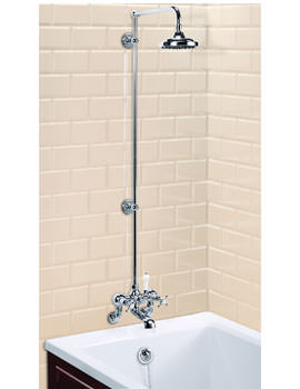 Burlington Wall Mounted Bath Shower Mixer With Rigid Riser-Straight Arm-6In Rose