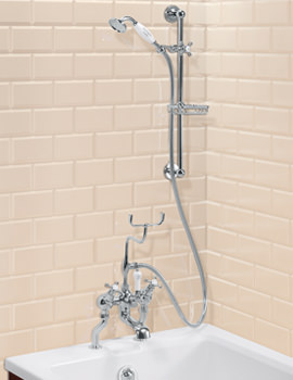 Angled Deck Mounted Bath Shower Mixer With Slide Rail And Soap Basket