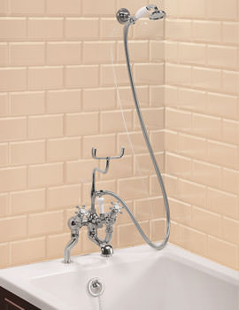 Claremont Deck Mounted Angled Bath Shower Mixer With Shower Hook