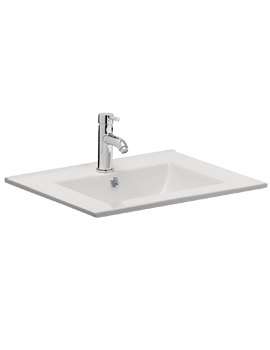 Bauhaus Design 700mm Inset Single Taphole Ceramic Basin With Overflow