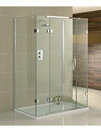 Aquadart Inline 3 Sided 900 x 800mm Hinged Door Shower Enclosure