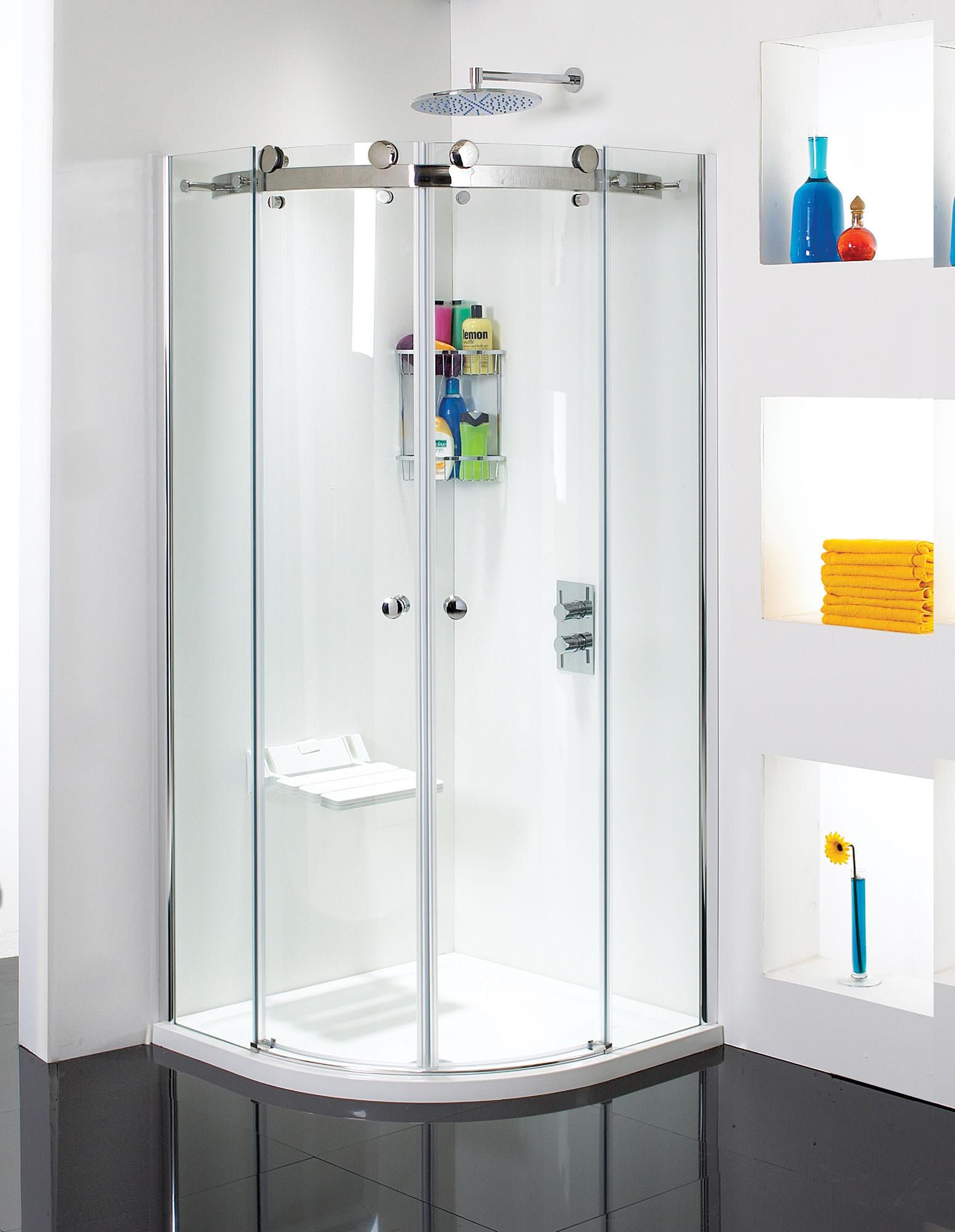 Phoenix Frameless Quadrant Twin Sliding Shower Door 900 X