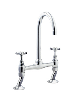 Deva Coronation Bridge Kitchen Sink Mixer Tap Chrome